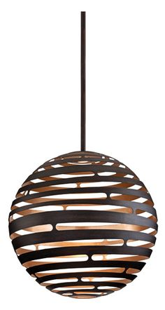 Tango, by Corbett Lighting, is made from laser-cut metal formed into a seamless sphere with an innovative, concealed high-performanceLED light source. The textured bronze exterior and silver leaf finish interior makes for a beautiful contrast of color. The fixture usesLEDbulbs, which last longer and use less energy than incandescent andCFLbulbs.