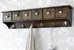 Wooden Victorian Wall Mounted Shelf and Hooks