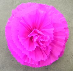 Mexican Crepe Paper Flower Hair Clip Hot Pink  by Flowersbyjuliava, $7.75