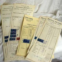 5 Vintage 1950s French invoices Original par 3rdshelffromthetop, $20,00