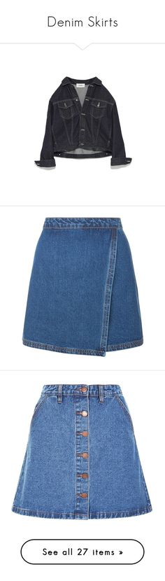 """""""Denim Skirts"""" by x0-chelseaa ❤ liked on Polyvore featuring outerwear, jackets, tops, coats, coats & jackets, skirts, long blue skirt, denim skirt, blue denim skirt and blue maxi skirt"""