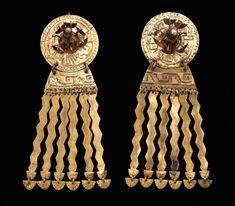 CHIMÚ culture North Peru 1100–1450 AD Pair of ear ornaments gold and copper