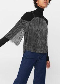 Mango Outlet Metallic off-shoulder blouse