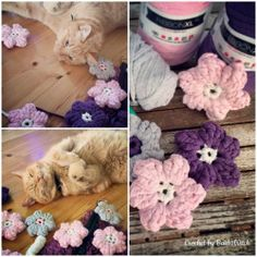 Our cat on a filed of crochet flowers ;) DIY-Puffy-Flowers-by-BautaWitch Cute Crochet, Crochet Yarn, Crochet Flowers, Crochet Squares, Crochet Necklace, Diy, Ribbon, Throw Pillows, Knitting