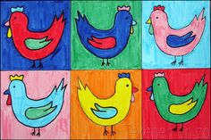 popart; kippen in de stijl van Andy Warhol