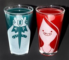 Sandblasted Marceline & Ice King Adventure Time by PintSizedPixels, $18.00