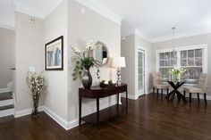 dark wood floors Jacobean stain on red oak with a - flooring Baseboard Styles, Baseboard Molding, Baseboard Heaters, Baseboard Ideas, Crown Molding, Moulding, Living Room Designs, Living Room Decor, Living Rooms