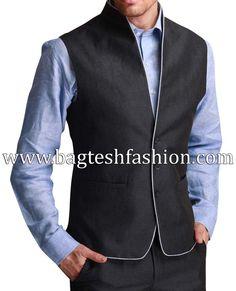 Stylish high neck nehru jacket made from black color linen fabric. Dryclean only. Modi Jacket, Vest Jacket, Mandarin Collar Jacket, Waistcoat Men, Mens Fashion Suits, Men's Fashion, Nehru Jackets, Formal Shirts, Black Linen