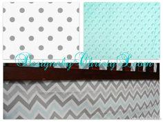 Mist Gray Chevron and Gray Dot Crib Bedding by DesignsbyChristyS, $145.00