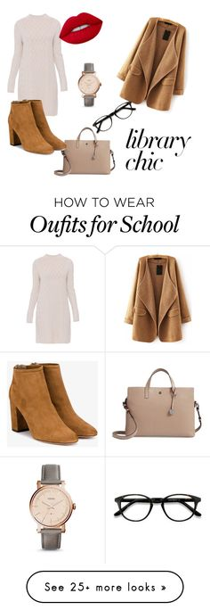 """""""School Girl"""" by lovebieber06 on Polyvore featuring Lodis, 'S MaxMara, WithChic, Aquazzura, EyeBuyDirect.com, Lime Crime, FOSSIL and librarychic"""