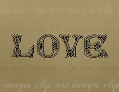 Love Knot Text Clip Art, Vintage Grungy Celtic Letters, Royalty Free, Digital…