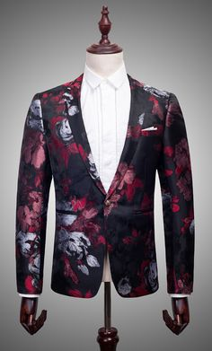 _  Gentlemens Tailored Black Burgundy Silver Embroidered Floral Blazer