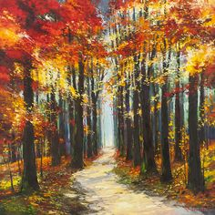 'Autumn Walk' by Gleb Goloubetski, Oil on Canvas, 120cmx120cm
