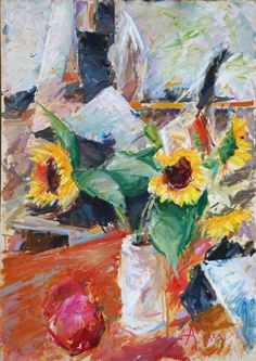 "Akanthos, ""the Helianthus from Stournari str. under the light of Attica"" (oil on Cardboard) 50X70 cm  http://www.akanthosnet.com/"