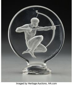 Art Glass:Lalique, R. Lalique Clear and Frosted Glass Archer Mascot . Circa1926. Wheel carved R. LALIQUE FRANCE, engraved No. 11...