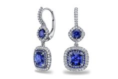 Sapphire and Diamond Double Halo Drop Earrings - in 18kt White Gold by Omi Prive, at Ritani