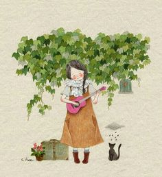 Loving kindness (S Hee) Korean Artist, Illustration Girl, Cute Images, Cat Art, Art Girl, Watercolor Paintings, Watercolour, Art Drawings, Anime Art