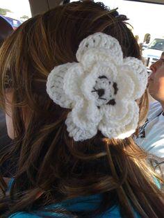 Huge crochet flower I put in my hair, I love it!