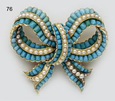 Buff-cut turquoise, pearl and gold Victorian bow brooch