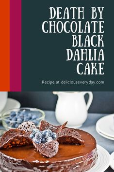 This multi layered black dahlia cake topped with chocolate mousse and smothered in chocolate glaze is deliciously rich and moist. It will make all of your chocolate fantasies come true! Chocolate And Vanilla Cake, Death By Chocolate, Chocolate Sweets, Chocolate Recipes, Chocolate Glaze, Edible Christmas Gifts, Christmas Baking, Dahlia Cake, Easy Holiday Recipes