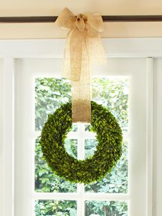Preserved Boxwood Wreath w/ Burlap Ribbon http://www.hgtv.com/decorating-basics/quick-holiday-decorating/pictures/page-15.html?soc=pinterest