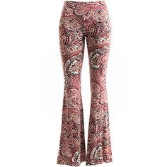 Fashionomics Pink Paisley Flare Legging ($22) ❤ liked on Polyvore featuring pants, leggings, white legging pants, rayon pants, flared pants, pink pants and white pants
