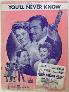 You'll Never Know / by Mack Gordon & Harry Warren / 1943 Vintage Sheet Music