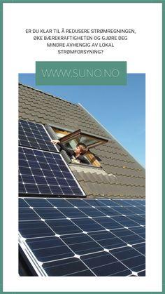 Solenergi, solceller, solkraft i Bergen.  Suno er en komplett leverandør av solceller og batteriløsninger i Skandinavia. Vi har base i Bergen men leverer og installerer solceller og solcellepakker i hele Norge. Vi samarbeider og installerer med kvalifiserte norske elektrikere.  I Suno er vi lidenskapelig opptatt av produkter og teknologi som gjør hjemmet eller selskapet ditt mer kostnadseffektivt og miljøvennlig. Solar Panels, Outdoor Decor, Sun Panels, Solar Panel Lights