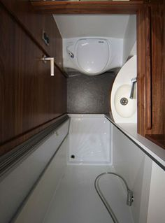 Small Rv Bathroom & Toilet Remodel Ideas 31 image is part of 80 Wonderful Small RV Bathroom and Toilet Remodel Ideas gallery, you can read and see another amazing image 80 Wonderful Small RV Bathroom and Toilet Remodel Ideas on website Tiny Bathrooms, Tiny House Bathroom, Bathroom Toilets, Bathroom Showers, Bathroom Small, Sprinter Van, Sprinter Motorhome, Mercedes Sprinter Camper, Douche Camping Car