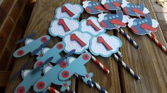 Airplane Cupcake Toppers by on Etsy Airplane Decor, Airplane Party, First Birthday Parties, 3rd Birthday, First Birthdays, Cupcake Liners, Cupcake Toppers, Airplane Cupcakes, 1st Birthday Pictures