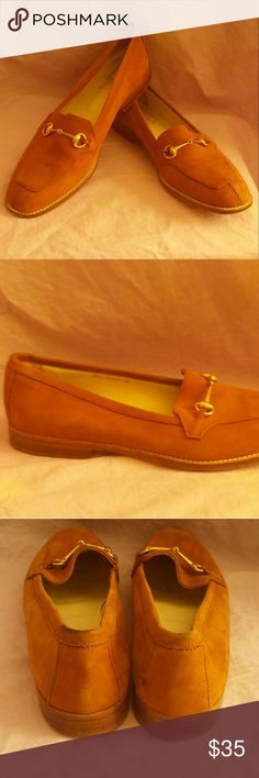 """Joan & David Chestnut Brown SUEDE Loafers 8.5 These super great loafers are fashion classics but done in an unusual ( and versatile) shade of warm chestnut brown. They are """"Handmade  in Italy"""" and feature gold tone horse bit detail , hand stitching at the leather sole, and are fully leather lined.  Bought on eBay, but too small for my wide foot. I would say these fit more like a size 8. Minimally worn. Joan & David Shoes Flats & Loafers"""
