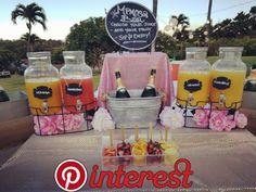 16 Ideas For Baby Shower Ideas Brunch Mimosa Bar Baby Shower Drinks, Baby Shower Desserts, Baby Shower Brunch, Bridal Shower Party, Bridal Shower Decorations, Brunch Party Decorations, Bubbly Bar, Mimosa Bar, Sangria Bar