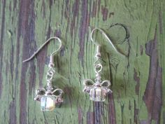 Sparkling Silver Christmas Dangle Earrings holiday by BeadLove14