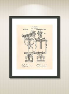 This reproduction was digitally restored and in some cases altered to remove defects or unwanted artifacts present in the original #patent document.  Buy more and save! Buy ... #patentart #art #print #gift #digital #download #instant #printable #vintage #solar #theodolite