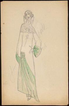 1922 Paul Poiret dress sketch [Modèle de robe longue] | Centre de documentation des musées - Les Arts Décoratifs