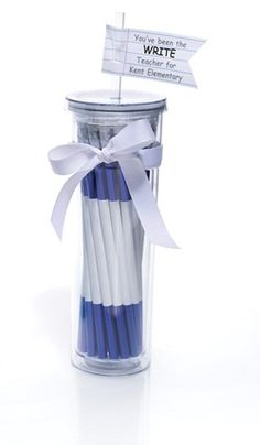 """Tumbler filled with pencils and a cute tag on top says """"You've been the WRITE teacher for us"""""""