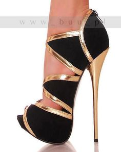 #shoes #heels amazing black & gold ultra high heel - Find 150+ Top Online Shoe Stores via http://AmericasMall.com/categories/shoes.html