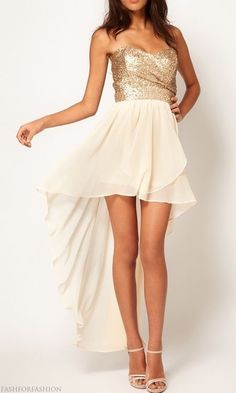 Long in the back short in the front. I like those type of dresses