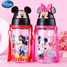 Disney Baby Feeding Cup with straw Lovely mickey minnie cover Portable spill proof Tritan Bottle BPA free drinkware water cup