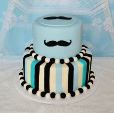 Mustache Baby Shower Cake - fondant and buttercream.
