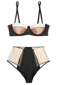Kiki de Montparnasse Muse High-Waisted Satin and Lace Corset Briefs, $325, available at Net-A-Porter; Kiki de Montparnasse Muse Stretch-Silk Contour Bra, $325, available at Net-A-Porter.