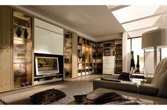 oak book case tv wall - Google Search