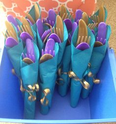 Peacock Party Cutlery note the different colors Peacock Birthday Party, Mermaid Birthday, Peacock Themed Wedding, Peacock Wedding Decorations, Peacock Decor, Purple Wedding, Wedding Centerpieces, Mermaid Baby Showers, Baby Mermaid
