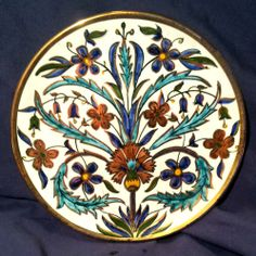 "BEAUTIFUL 8"" ANTIQUE KUTAHYA HANDPAINTED PLATE"