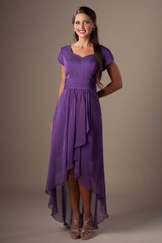 3bd1d96b81992 Elegant Purple Chiffon Hi-Low Mother of the Bride Dress Evening Party Prom  Gowns#