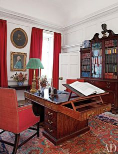 Peter armchairs and a 1759 Chippendale library table are among the furnishings placed in Lord Dumfries's Study; it was originally a dressing room.