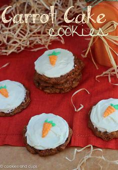 Cake mix Carrot Cake Cookies  1 box Carrot Cake mix (I used Duncan Hines Decadent Carrot Cake)  2 eggs  1/2 cup butter, room temperature  1 cup oatmeal