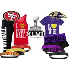 Are you a 49ers Fan? Do you know all the names of the Ravens for Baltimore? Here's your gear for Superbowl XLVII. Be sure to show off your pride!