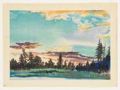 Whitney Museum of American Art: Chiura Obata: Evening Glow at Lyell Fork, Tuolumne Meadows