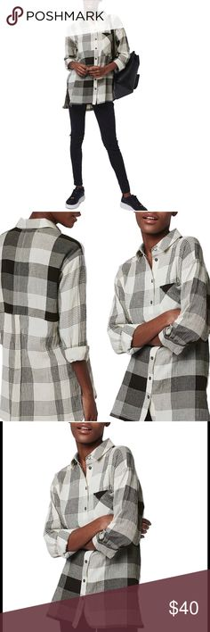 """Topshop Crinkle Plaid Shirt A casually crinkled plaid button-front shirt in a long, oversized fit drapes nicely with light, airy definition. 29 """"front length; 31"""" back length. Front button closure. Long sleeves. Vented high/low hem. 54% viscose, 46% cotton. US size 6 runs big, will fit also 8-10. Top rated, sold out. No trades. Reasonable offers considered. Like new, worn only once. Topshop Tops Button Down Shirts"""
